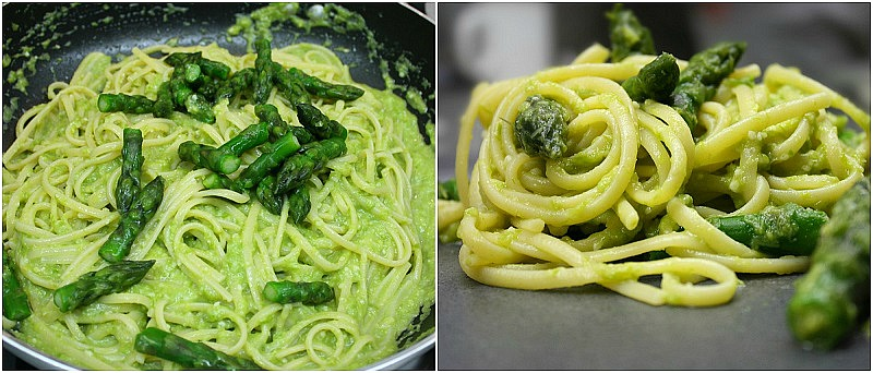linguine with asparagus sauce, serving