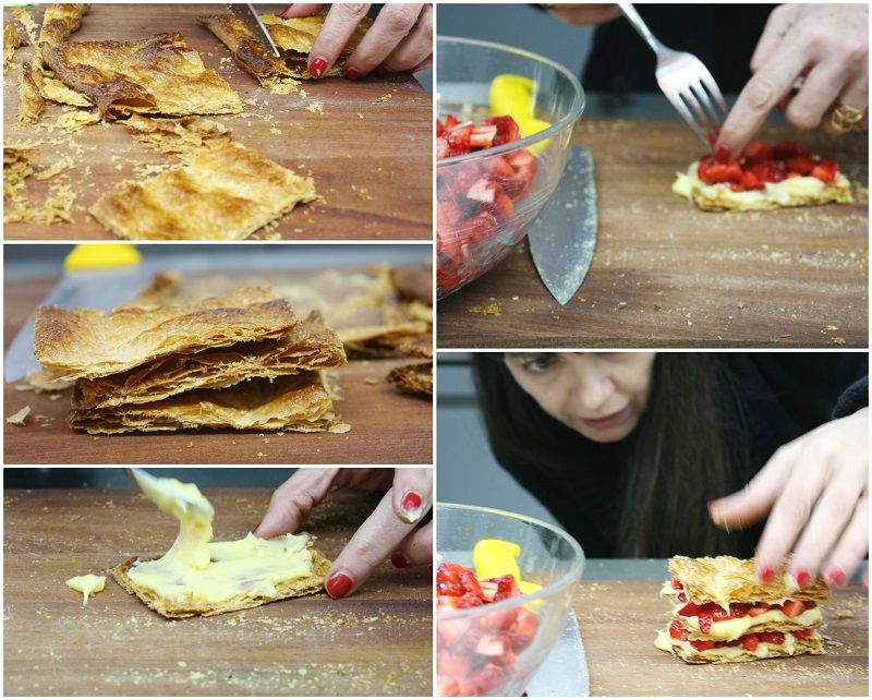 small strawberry mille-feuille