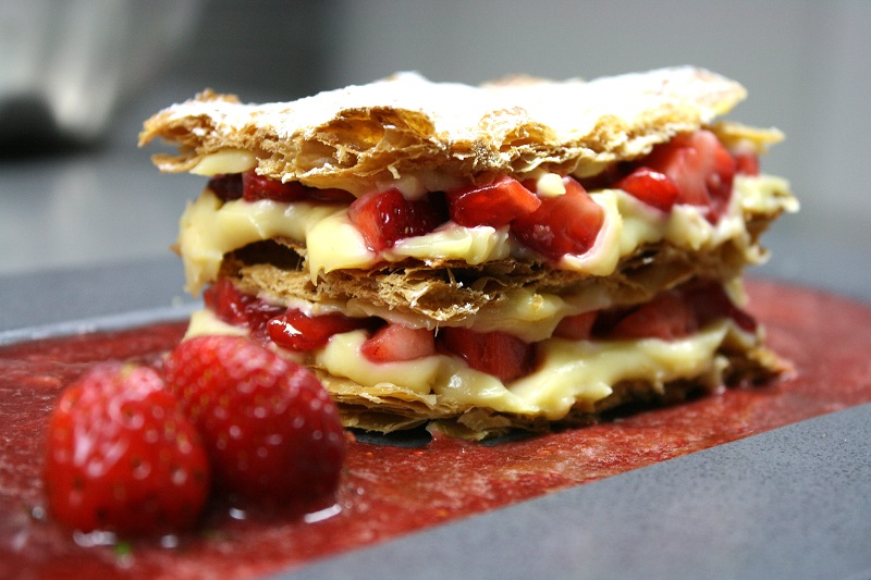 strawberry mille-feuille portion