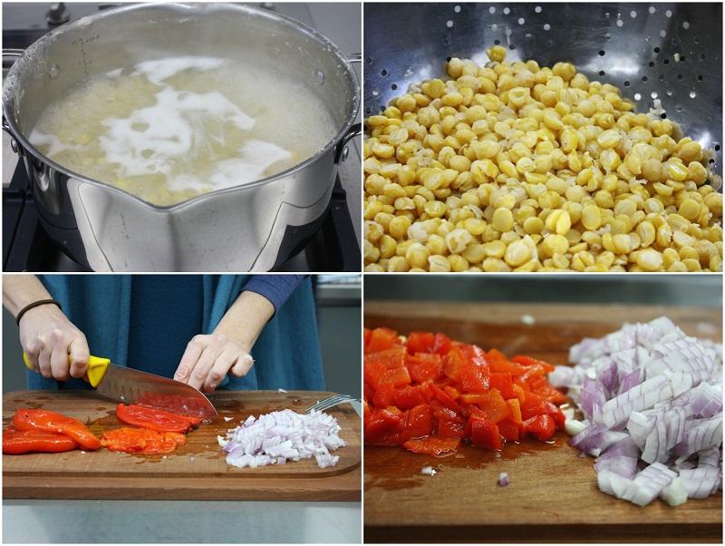δροσερή σαλάτα ρεβίθια με κόκκινες πιπεριές