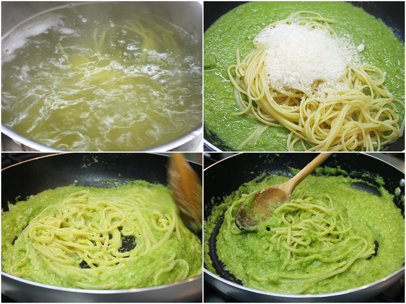step by step making of linguine with asparagus sauce