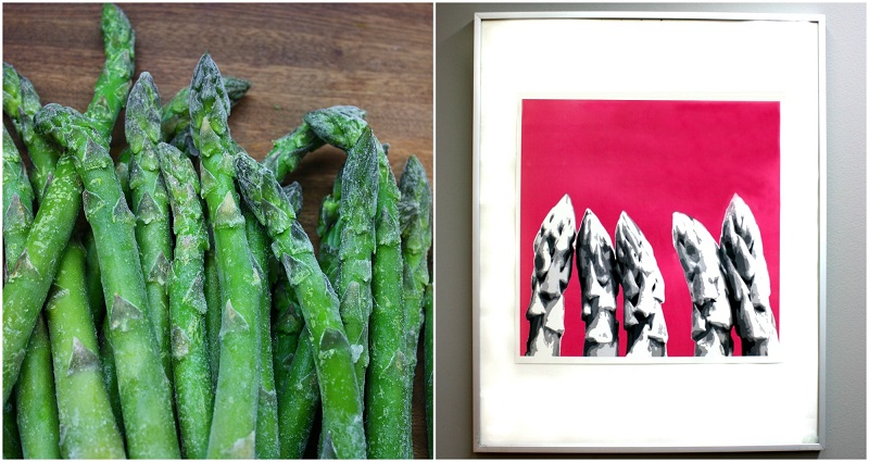 Green asparagus and a picture with asparagus tips