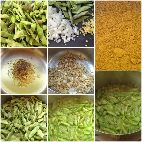 step by step preparation of the fresh green beans with cumin and ginger recipe