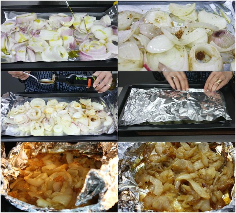 κάνοντας καραμελωμένα κρεμμύδια στο φούρνο