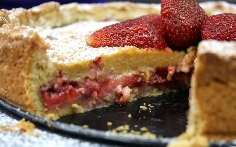 strawberry tart or moist perfumed strawberry pie