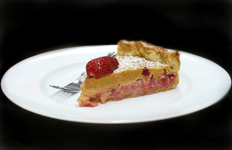 strawberry tart or strawberry pie piece served