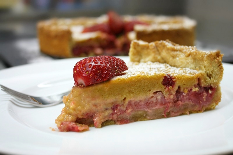 a piece of strawberry tart with crunchy pastry