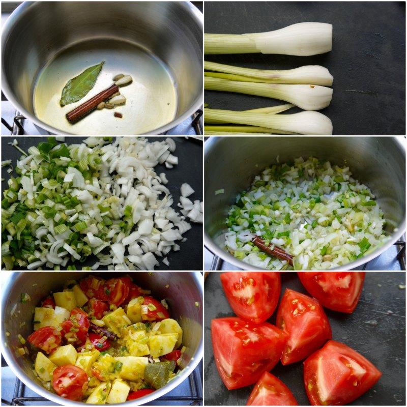 αρωματικό κάρυ με πατάτες και ντομάτα - παρασκευή 1