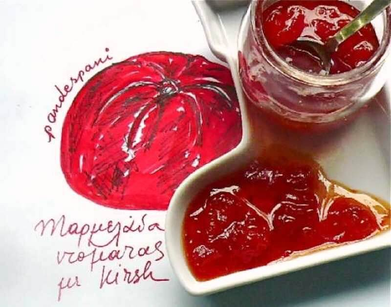 Easy tomato marmalade with kirsch or plain