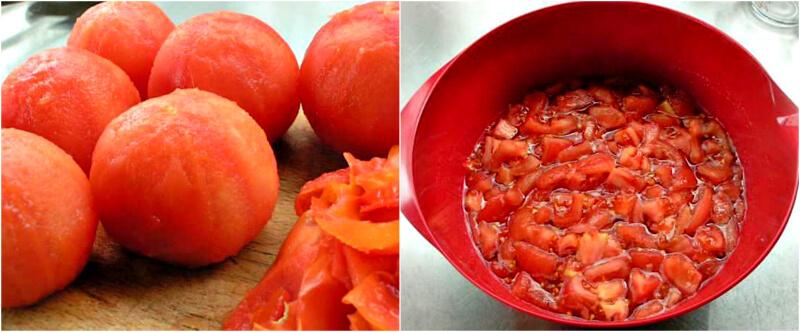Preparing the tomatoes for tomato jam