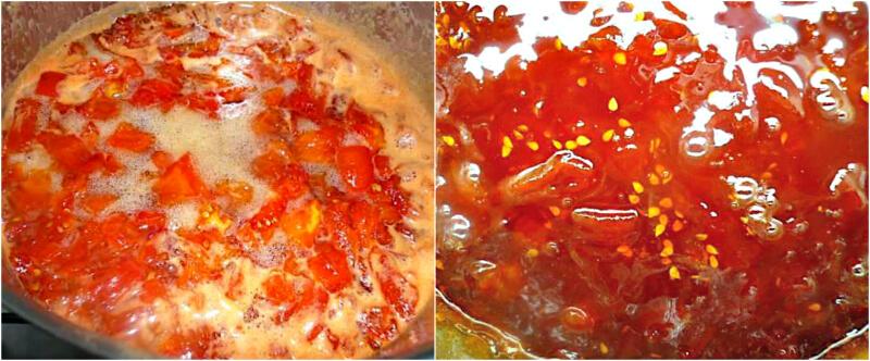 Βράσιμο και ολοκλήρωση της μαρμελάδας ντομάτας με kirsch ή σκέτη