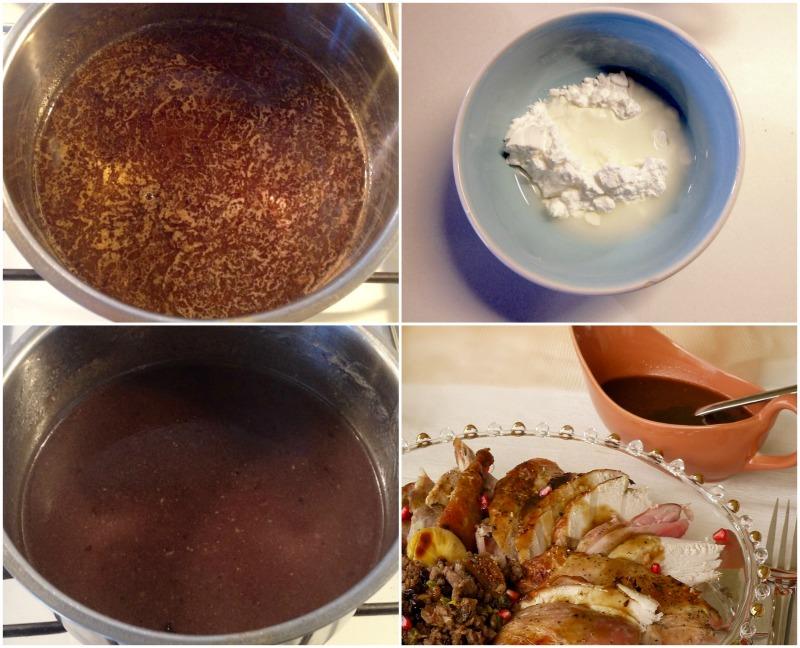 γεμιστή γαλοπούλα με κιμά, ξηρούς καρπούς και ρόδι - gravy