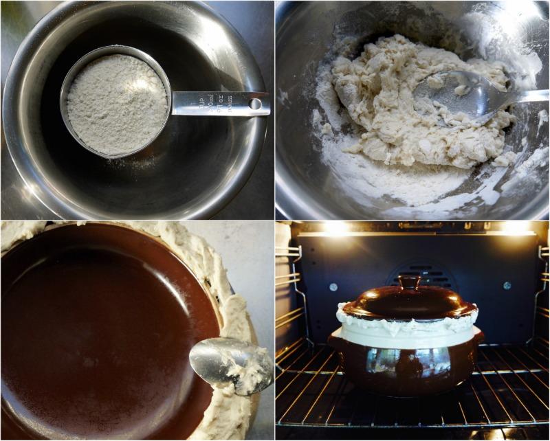 κυκλαδίτικη σιφνέικη ρεβυθάδα στο πήλινο, στο φούρνο: ζύμη για το κλείσιμο του πήλινου σκεύους
