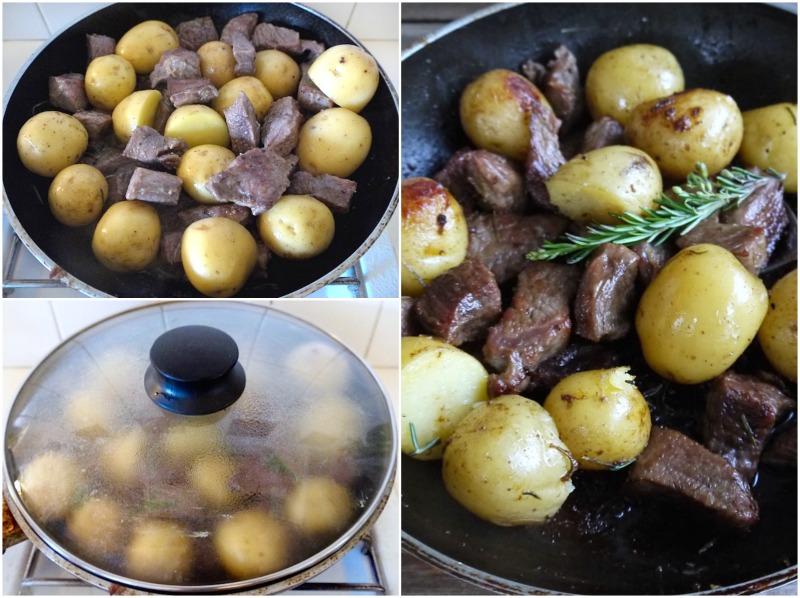 τηγανιά με μοσχαρίσιο κρέας και μικρές ολόκληρες πατάτες - μοσχαρίσια τηγανιά