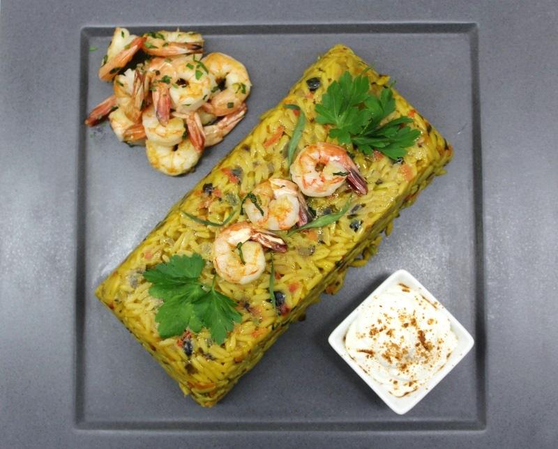 τερίν κριθαράκι με λαχανικά και γαρίδες