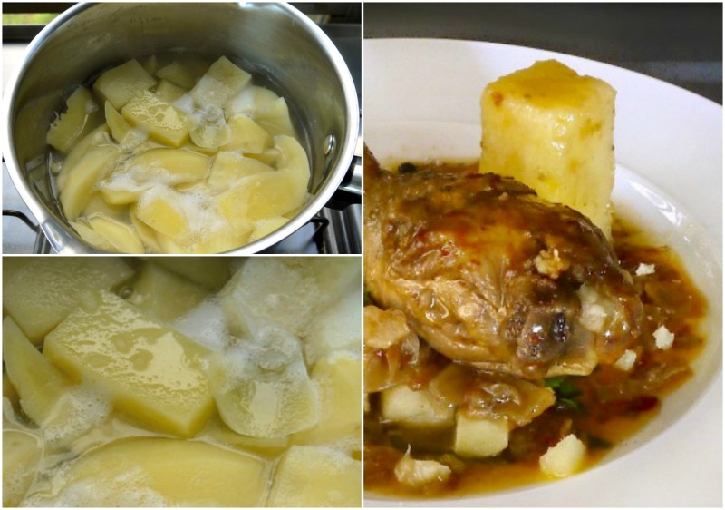 πατάτες βουτύρου στον κοκκινιστό κόκορα