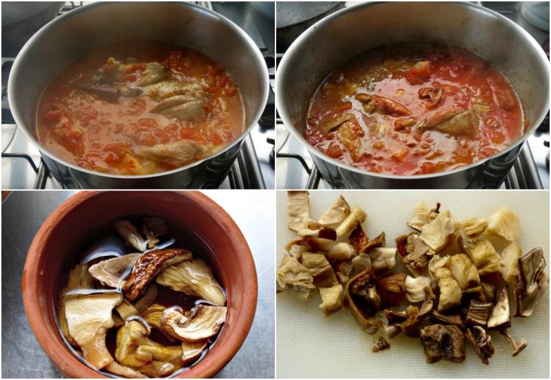 κοκκινιστό κοτόπουλο με μακαρόνια & άγρια μανιτάρια