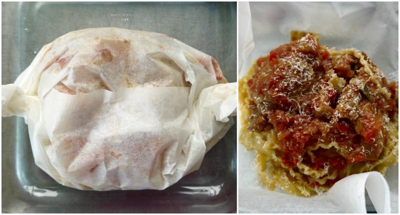 κοκκινιστό κοτόπουλο με μακαρόνια σε πακέτο, στο φούρνο