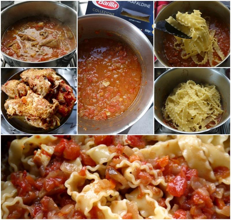 κοκκινιστό κοτόπουλο με μακαρόνια, κλασικό & στο φούρνο