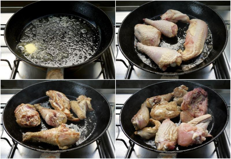 κοκκινιστό κοτόπουλο με μακαρόνια, σοτάρισμα