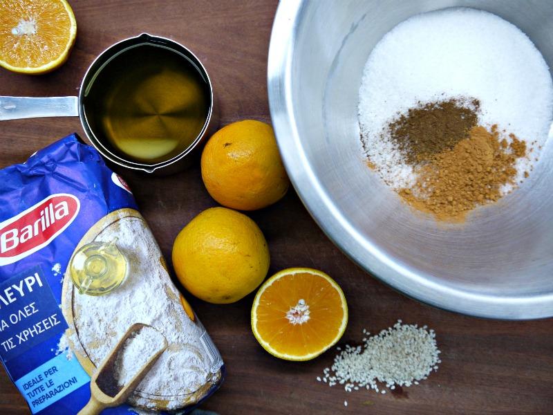 τραγανά κουλουράκια πορτοκαλιού, τα υλικά