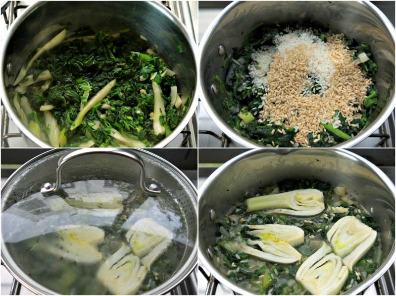 Ετοιμάζοντας σπανακόρυζο με μαραθόριζες και τσουκνίδα