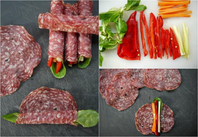 αλλαντικά - λαχανικά: γρήγορα ορεκτικά χωρίς ψωμί