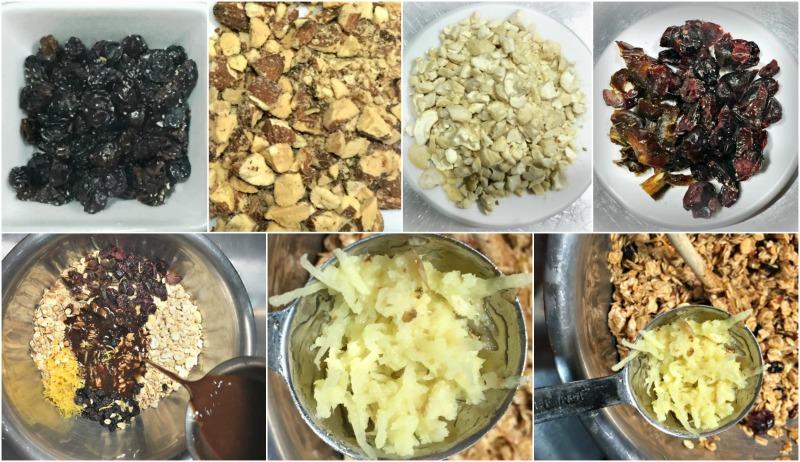 ετοιμάζοντας το μείγμα δημητριακών με τους ξηρούς καρπούς