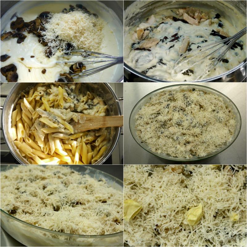 πένες με κοτόπουλο, μανιτάρια, μπεσαμέλ