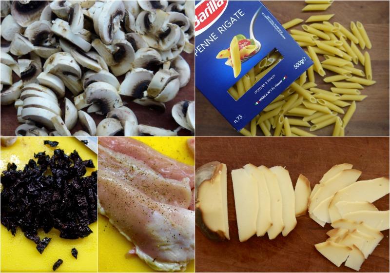 πένες με κοτόπουλο και μανιτάρια