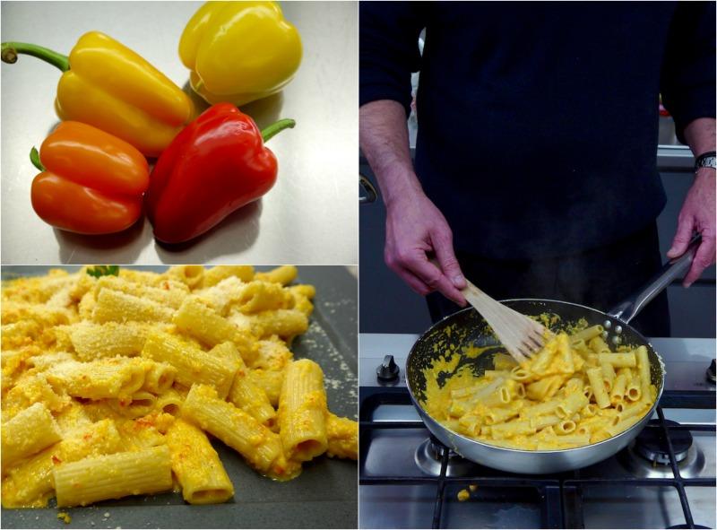 ριγκατόνι με κρέμα από πιπεριές