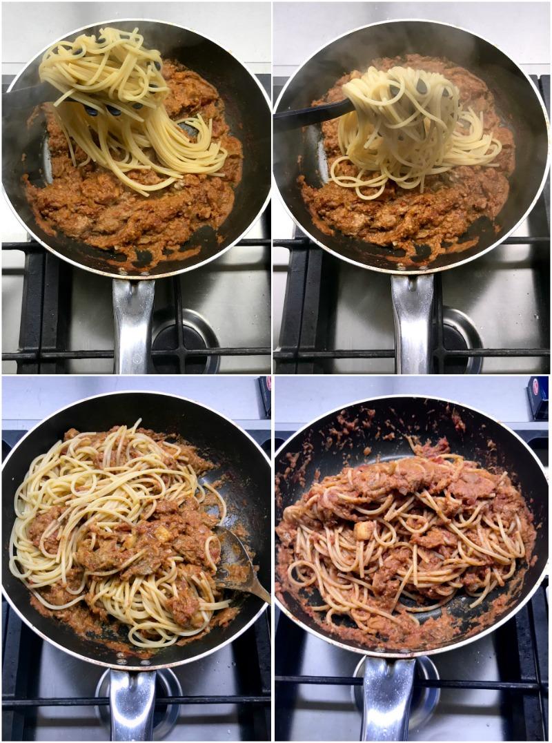 ριγωτά σπαγκέτι με μελιτζάνες και καρύδια - ανάμιεξη