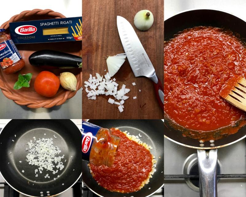 ριγωτά σπαγκέτι με μελιτζάνες και καρύδια - σάλτσα