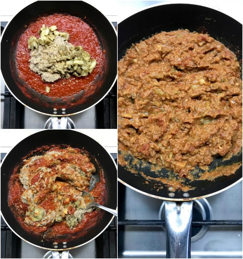 ριγωτά σπαγκέτι με μελιτζάνες και καρύδια - σάλτσα1