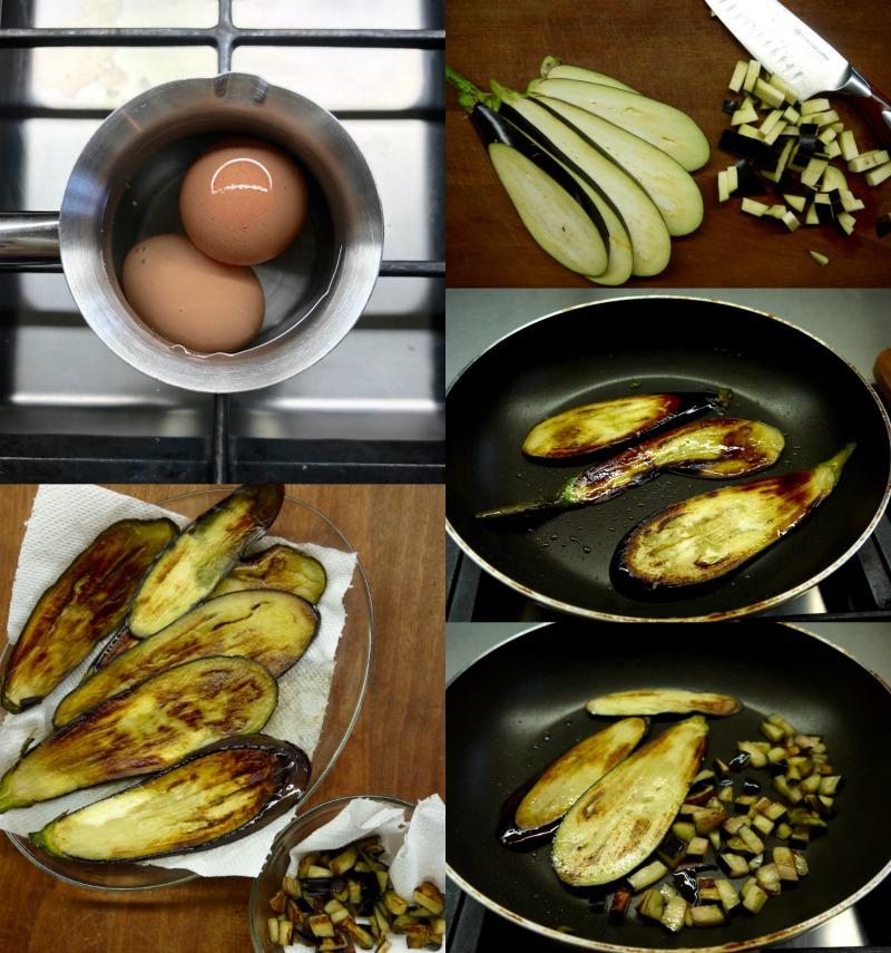 ριγωτά σπαγκέτι με μελιτζάνες και καρύδια - τηγάνισμα