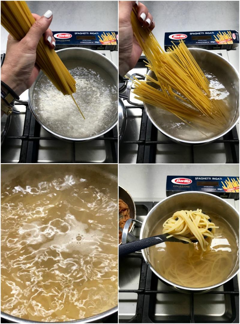 ριγωτά σπαγκέτι με μελιτζάνες και καρύδια - σπαγκέτι