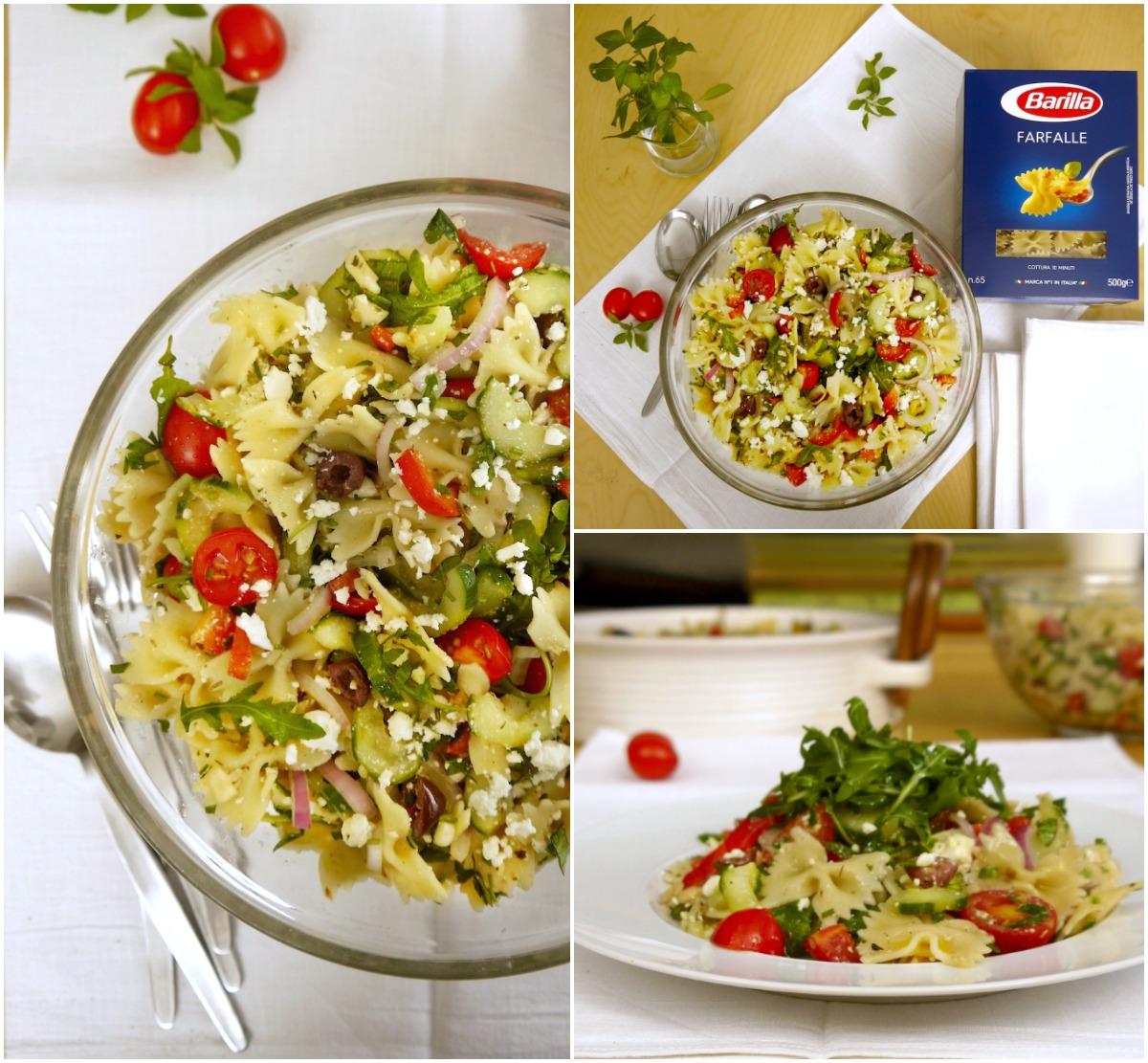Κρύα μακαρονοσαλάτα μεσογειακή με πεταλούδες/ φαρφάλες & ωμά λαχανικά