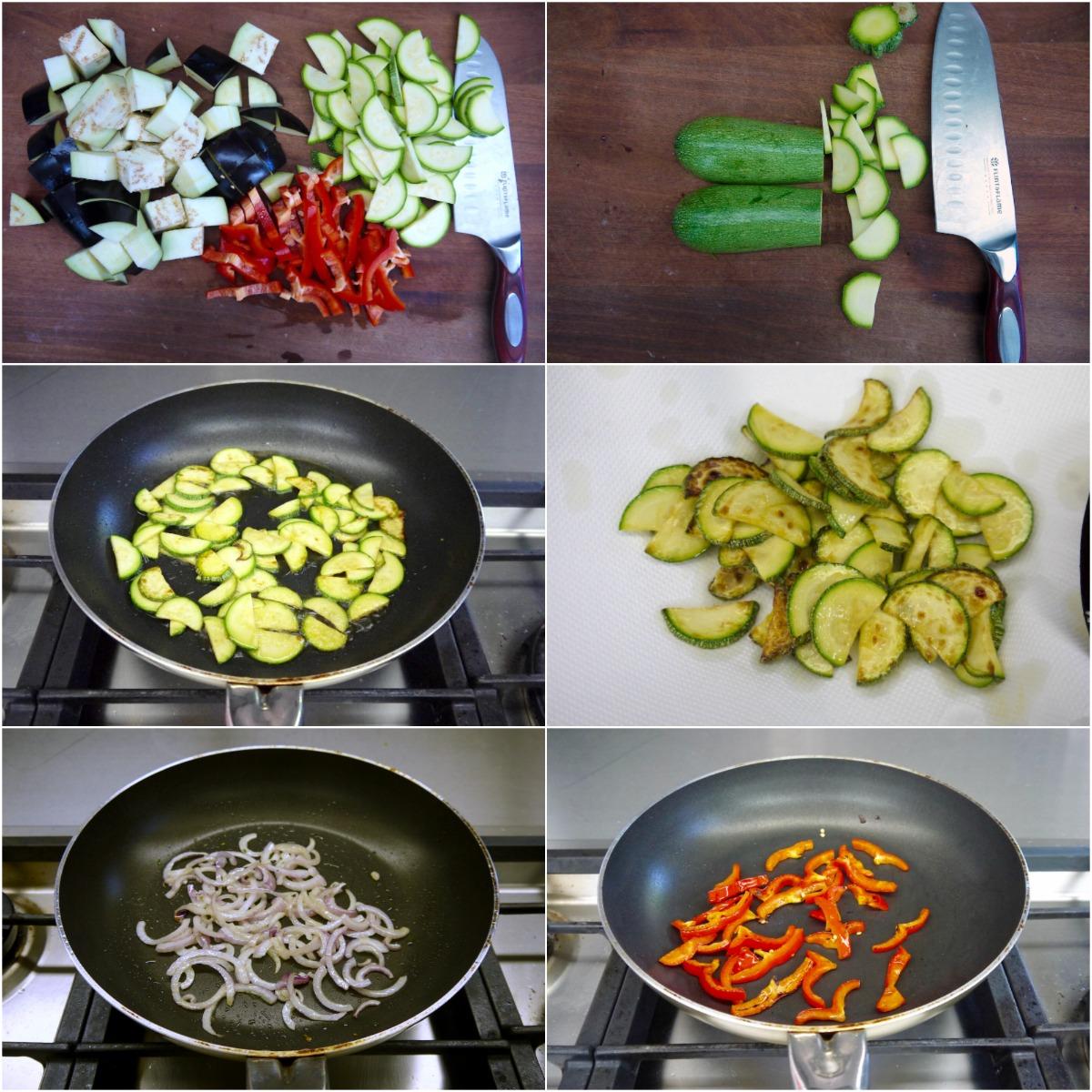 προετοιμάζοντας τα ψημένα λαχανικά
