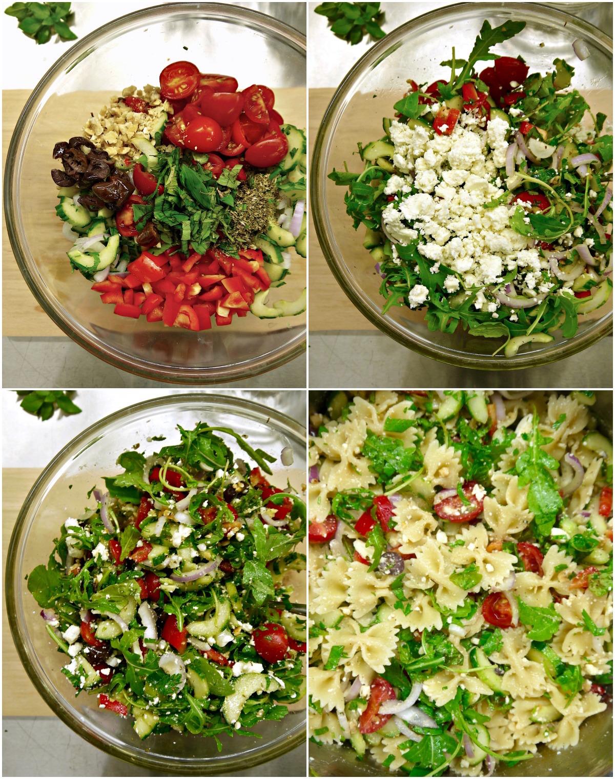 Κρύα σαλάτα ζυμαρικών με πεταλούδες/ φαρφάλες & ωμά λαχανικά