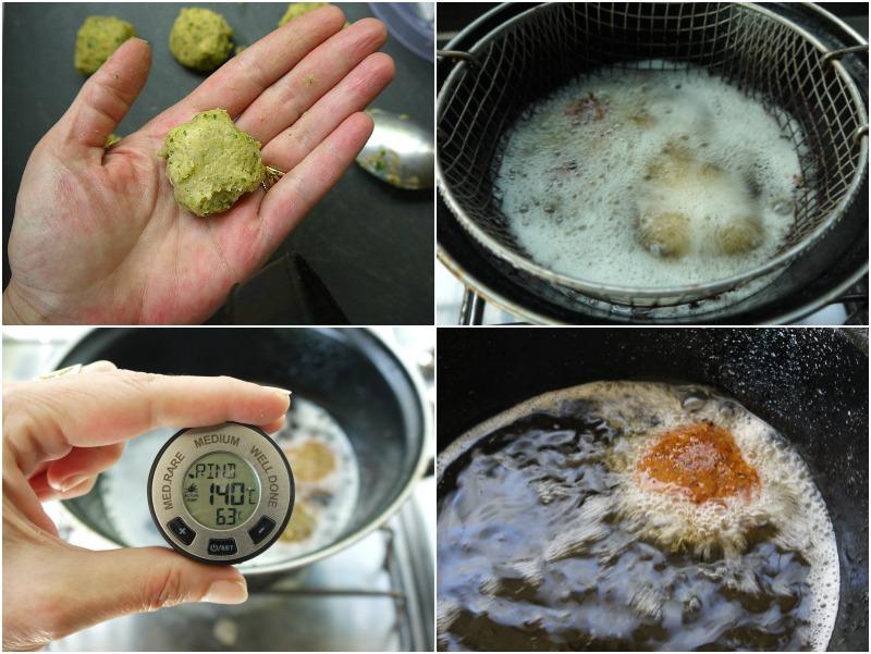 φαλάφελ τηγάνισμα στους 140 βαθμούς C - falafel