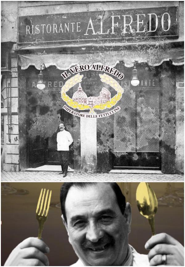 fettuccine Alfredo - ιστορία, ο 'βασιλιάς των φετουτσίνε' Alfredo di Lelio, με τα χρυσά κουταλοπίρουνα