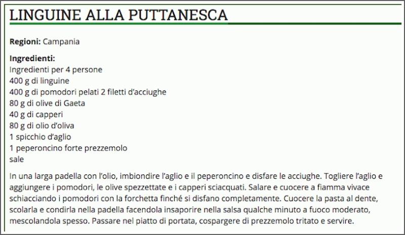 Λινγκουίνε αλά πουτανέσκα, η επίσημη συνταγή της Νάπολης