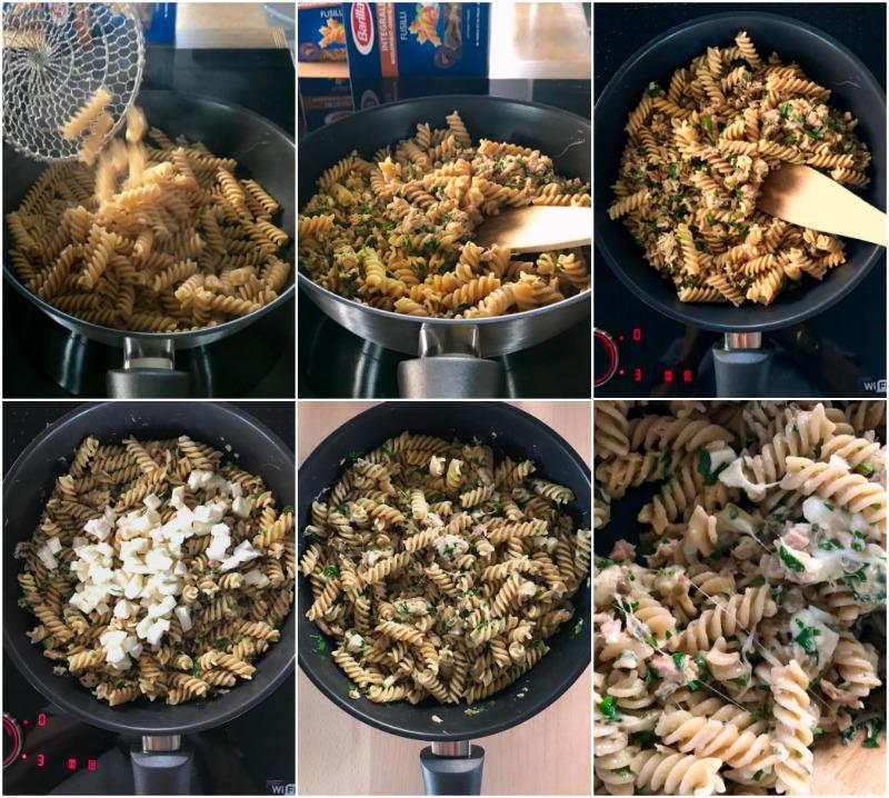 ζυμαρικά με τόνο και μοτσαρέλα