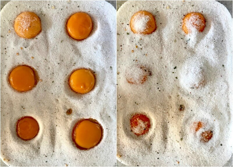 καπνιστοί κρόκοι αυγών παστοί σε αλάτι