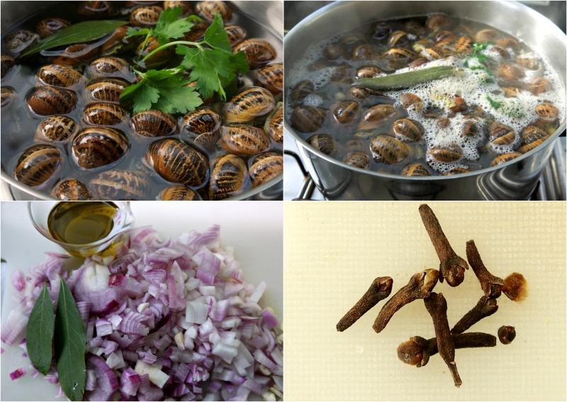 σαλιγκάρια βράσιμο: κρεμμύδια και γαρίφαλα