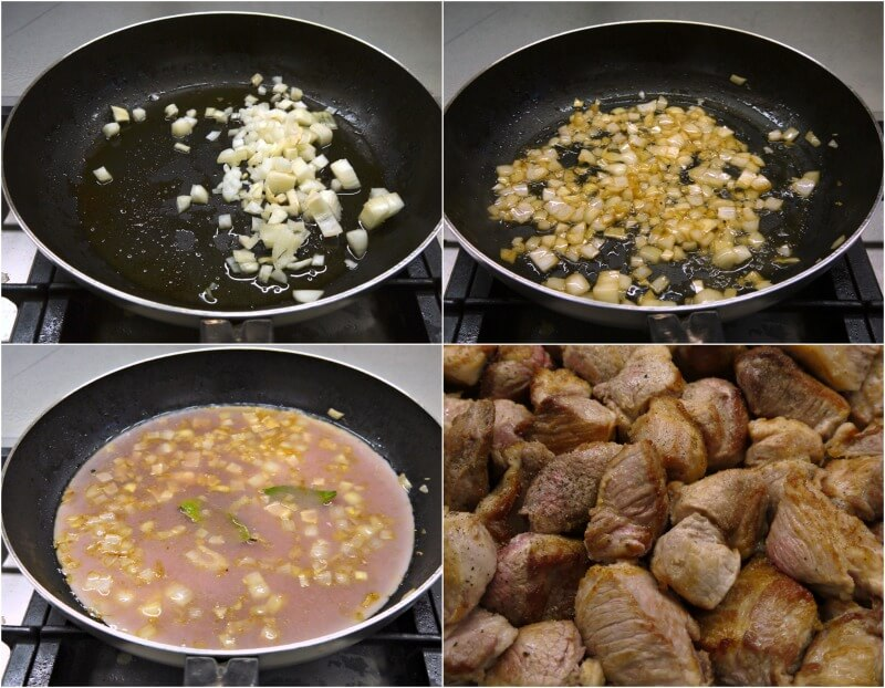σοτάρισμα κρεμμυδιού για χοιρινό και σβήσιμο