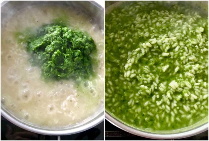 ριζότο με αρακά και ρόκα στο πράσινο του Σεζάν