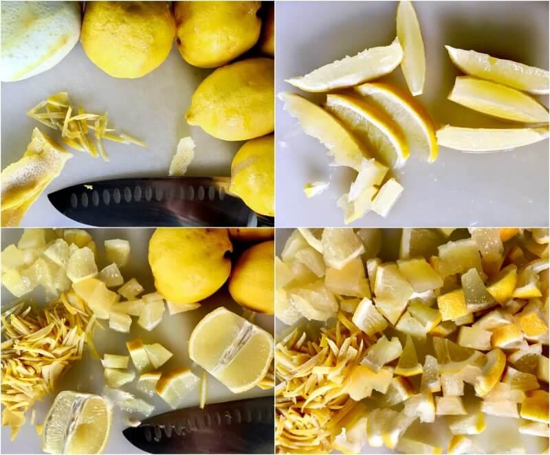Ετοιμάζοντας τα λεμόνια για γρήγορη μαρμελάδα λεμόνι με τζίντζερ