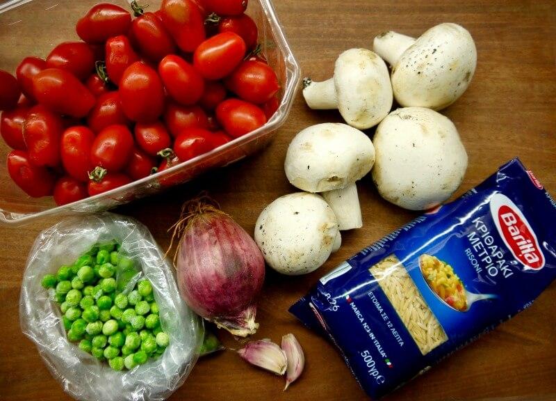 Barilla κριθαράκι με γαρίδες σκέτο και με μανιτάρια - τα υλικά