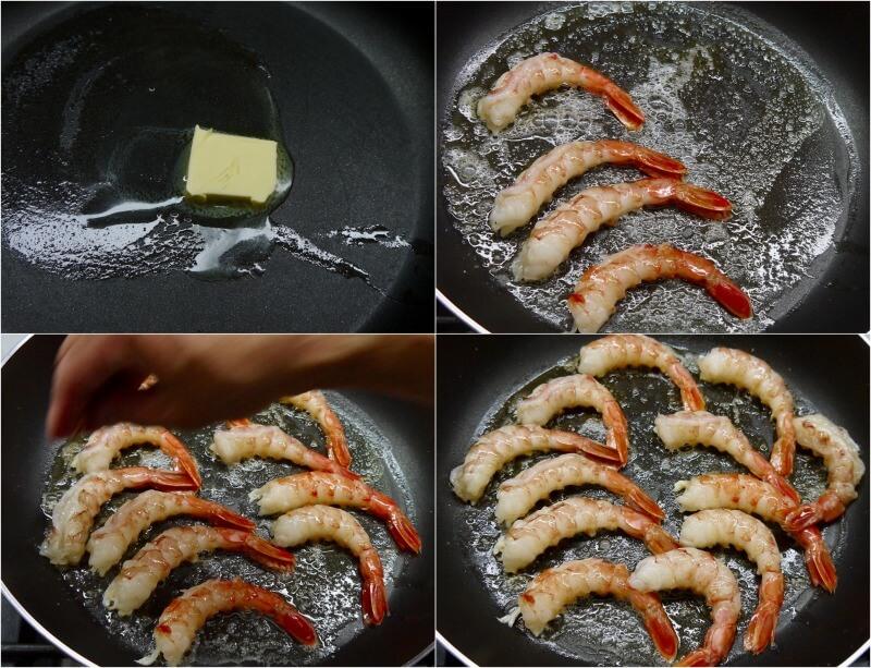 κριθαράκι με γαρίδες σκέτο και με μανιτάρια - τηγανίζουμε τις γαρίδες